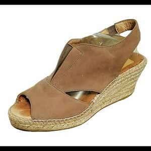 Kanna Suede Wedges Espadrille Shoes Sandals Sz 8